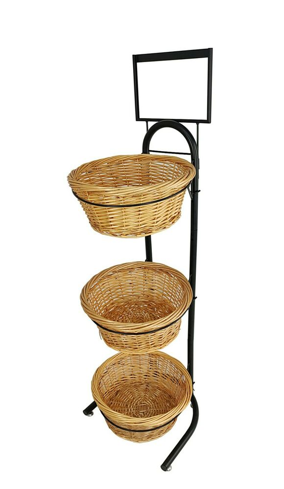 Wicker Basket Metal Rack Produce Floor Stand Bulk Food