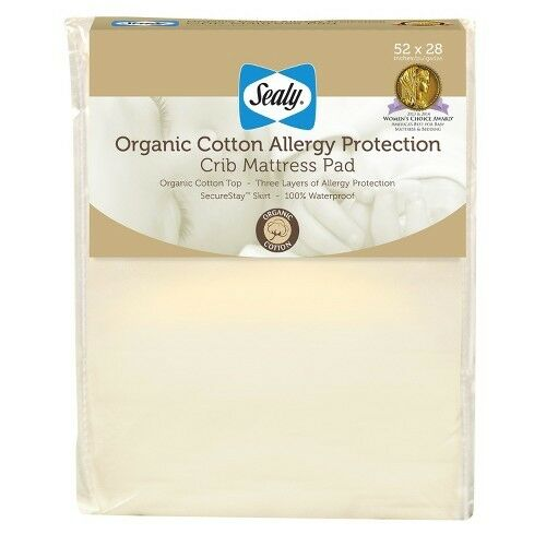 Sealy Allergy Protection Crib Mattress Pad Cover with Organic Cotton Top  eBay