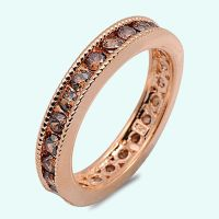 Rose Gold Chocolate Brown CZ Sterling Silver Wedding ...