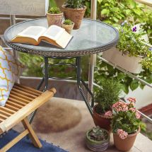 """1 2"""" Patio Rattan Table Tempered Glass Furniture"""