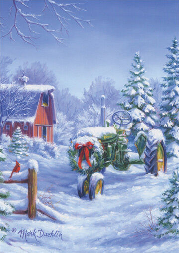 Snow Covered John Deere Tractor 18 Boxed Christmas Cards