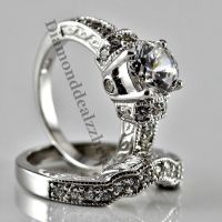 Sterling Silver Round cut Lab Diamond Engagement Ring ...