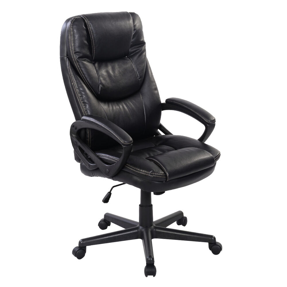 ergonomic office chair ebay red sashes for sale black pu leather high back new task computer desk  