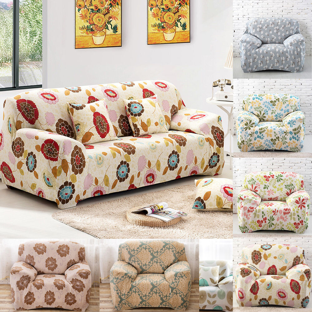 1Piece Floral Stretch Sofa SlipcoversCouch Cover Sofa Loveseat Chair 8 Colors  eBay