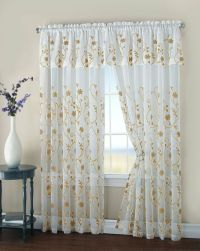 Malta Two Floral Embroidery Matte Sheer Window Curtain w ...