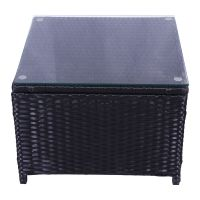 Outdoor Patio Rattan Wicker Glass Top Tea Table Garden ...