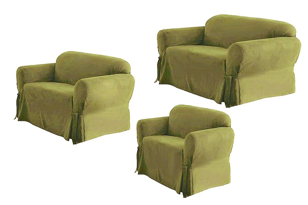 sage sofa slipcovers calion queen sleeper reviews solid suede couch covers 3 piece color slipcover set ...