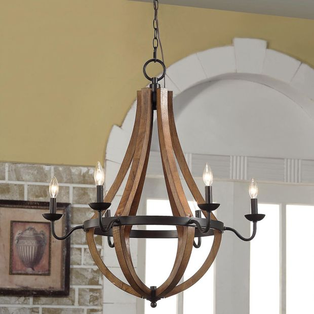 Rustic Wood Chandelier Light Fixture