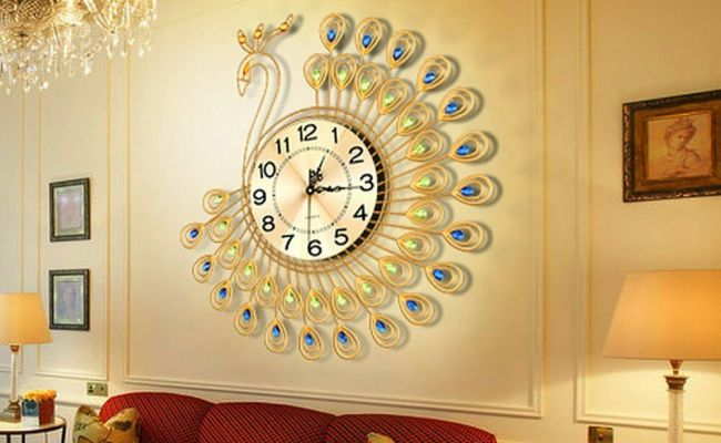 Perfect Gold Peacock Large Wall Clock Metal Living Room