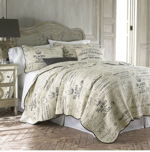 Caldwell Full-queen Quilt Set Neutral Vintage French