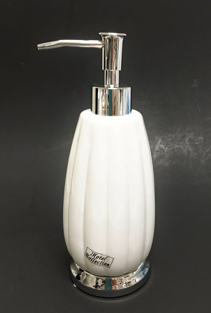 NEW HOTEL COLLECTION WHITE CERAMIC LOTIONSOAP DISPENSER
