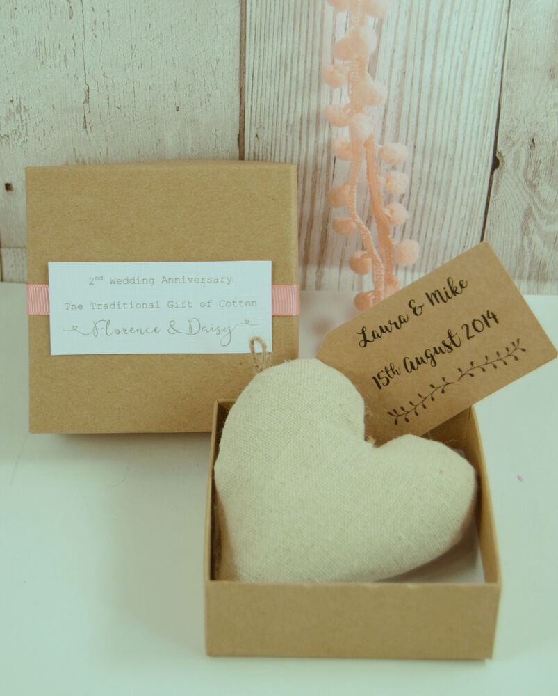 Cotton Padded Boxed Heart Hanger 2nd Wedding Anniversary Gift Personalised  eBay