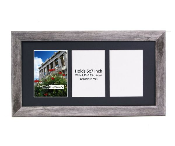 Creativepf 3 Opening Multi 5x7 Driftwood Frame 10x20 Black Collage Mat