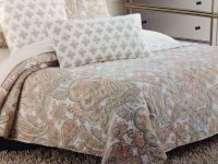CYNTHIA ROWLEY CORAL PAISLEY FLORAL FULL / QUEEN QUILT SET ...