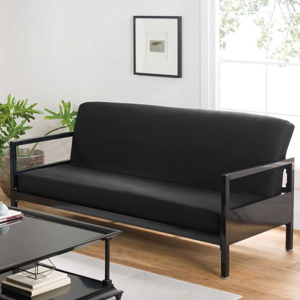 Queen Futon Covers Modern Black Soft Cotton Bed Sofa Couch Stylish Cover
