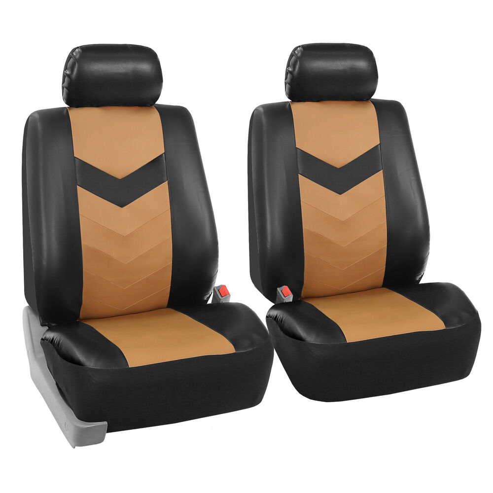 Faux Synthetic Leather Car Seat Covers Airbag Front Bucket
