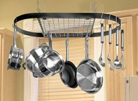 Pot and Pan Hanging Rack Hook Ceiling Mount Oval Wrought ...
