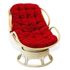 Glider Rocker Chair Cushions High Graco Cover Replacement Handmade Rattan Wicker Swivel Rocking Chelsea Papasan With Red Cushion. | Ebay