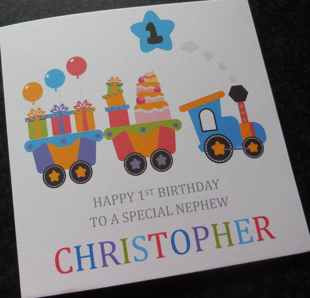 Personalised Boys 1st First Birthday Card Grandson