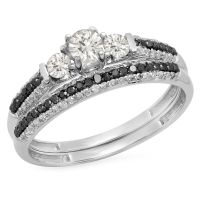 10K White Gold Diamond 3 Stone Bridal Engagement Ring Set