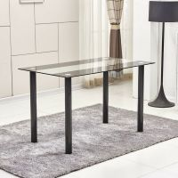 Modern Black&Clear 8mm Tempered Glass Dining Table Black ...