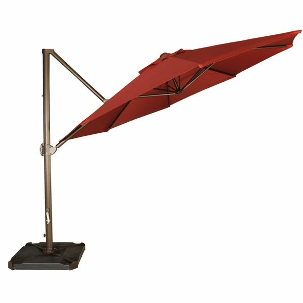 11 Ft Offset Cantilever Umbrella Outdoor Patio Hanging With Cross Base