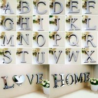 26 Letters DIY 3D Mirror Acrylic Wall Sticker Decals Home ...