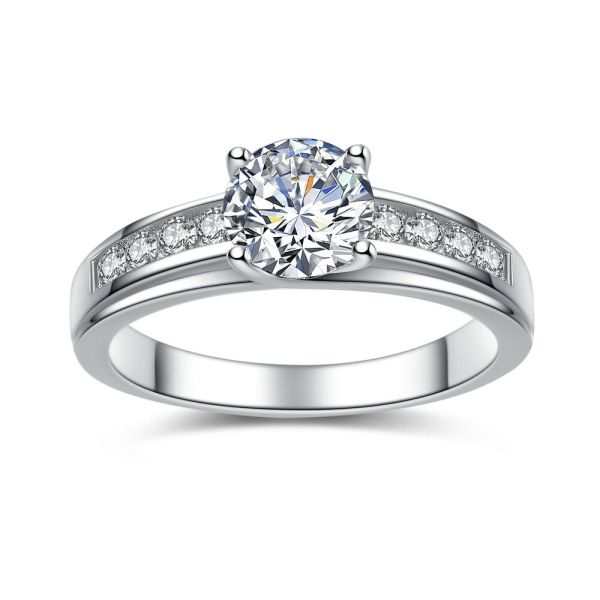 Real 925 Sterling Silver Solitaire 1.50 Ct Cubic Zirconia Engagement Ring