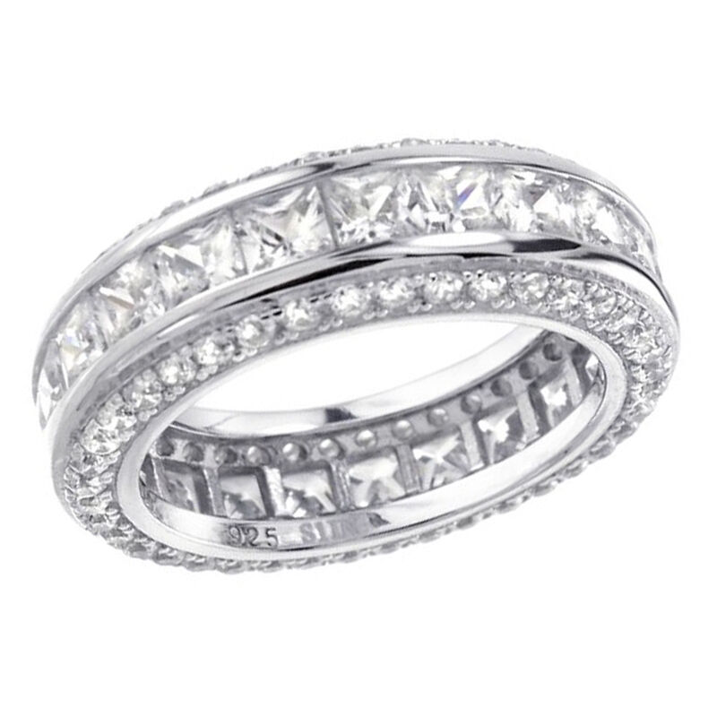Mens Wedding Band In Sterling Silver Princess  Round CZ Stone Ring Size 713  eBay