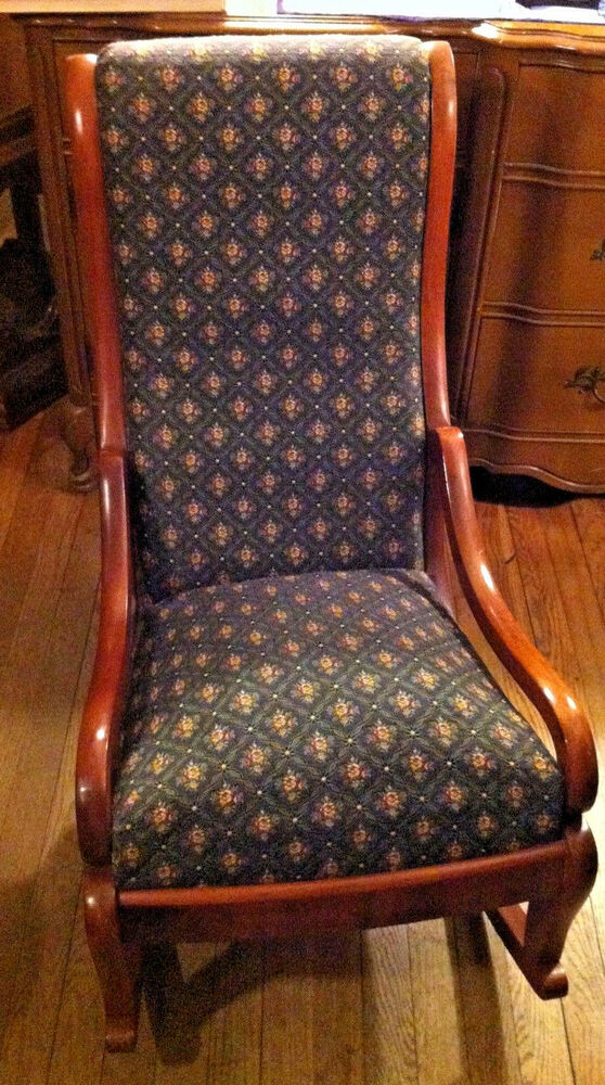 Antique Victorian Blue Pattern Upholstery Cushioned