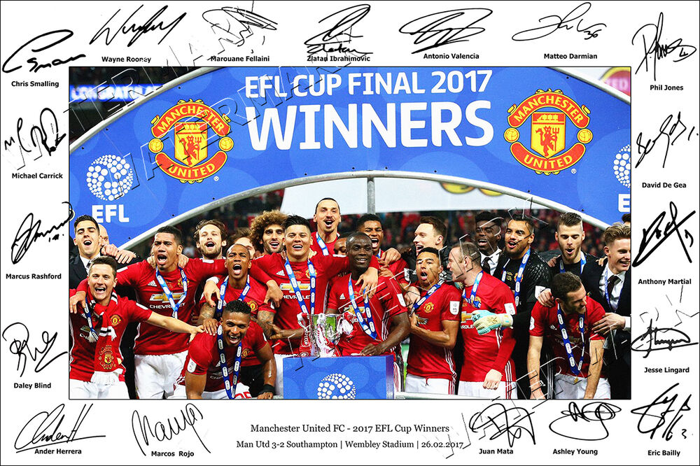 MANCHESTER UNITED SIGNED PHOTO POSTER PRINT SQUAD 2017 MAN