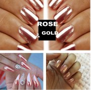 rose gold nails powder mirror