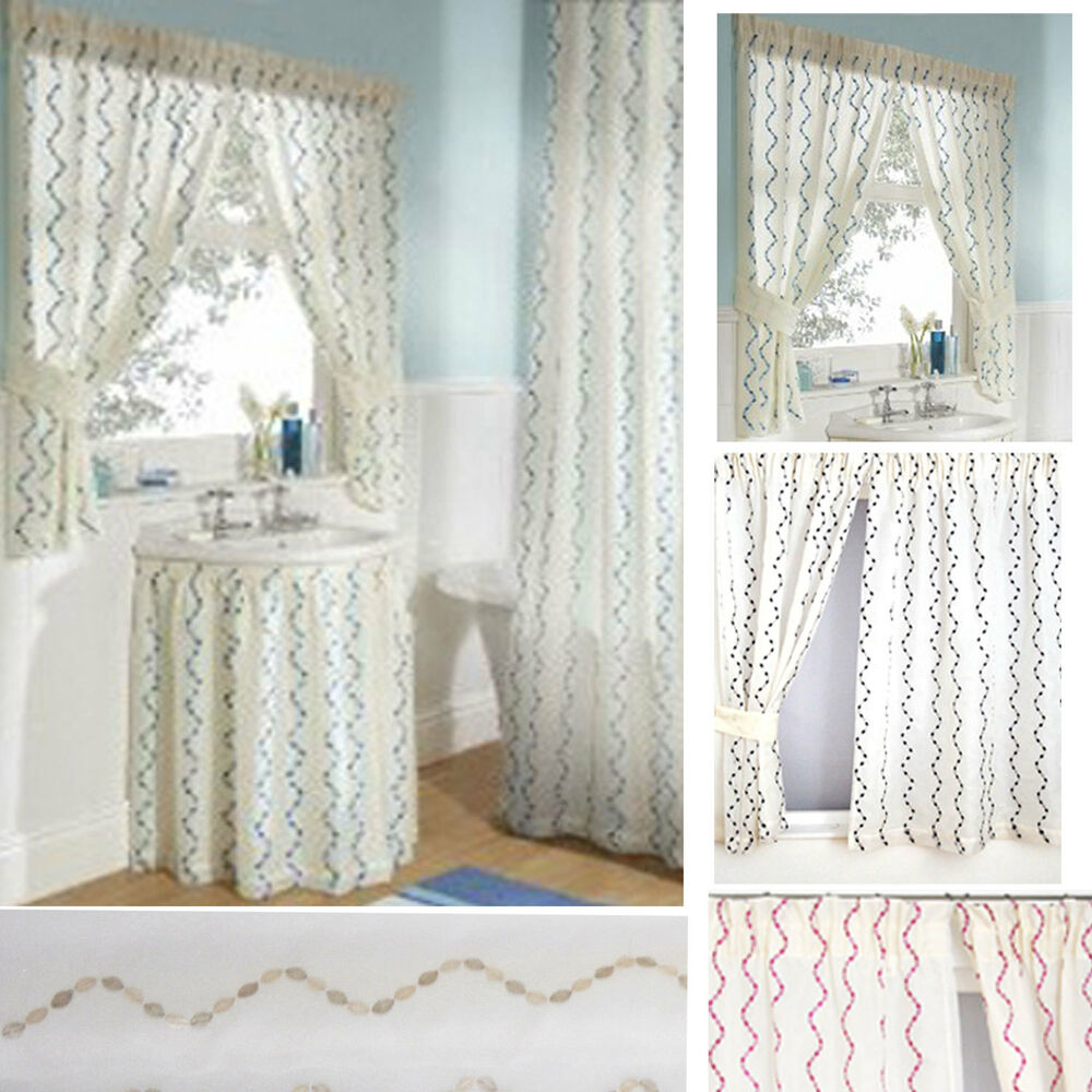 Bathroom Shower Curtain Waves Embroidered Voile Bathroom Shower Curtains Sink Skirts Window Curtains Ebay