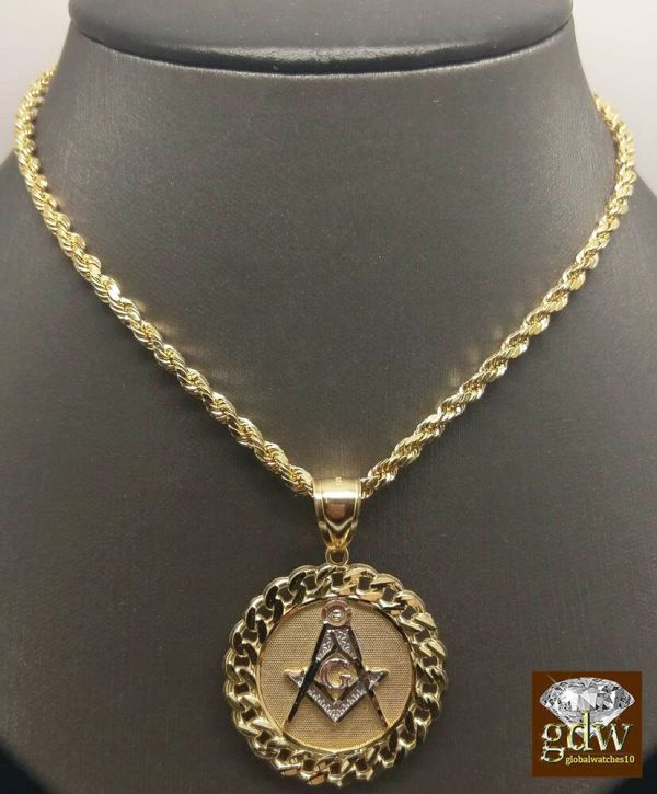 Real 10k Yellow Gold 30 Rope Chain Necklace&10k Cuban Masonic Charm Pendent