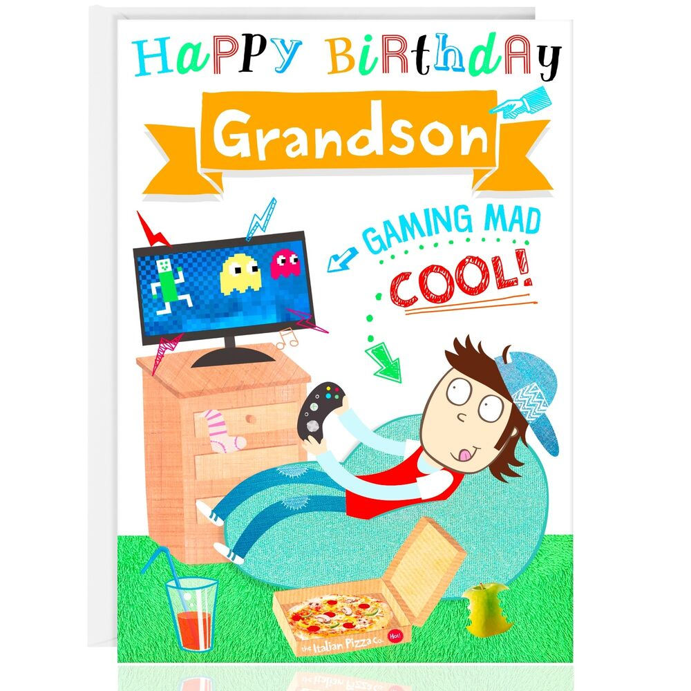 GRANDSON Birthday Greetings Card Relax XBOX PS4