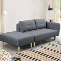 Modern 2 / 3 Seater Small Sofa Couch Grey Fabric ...