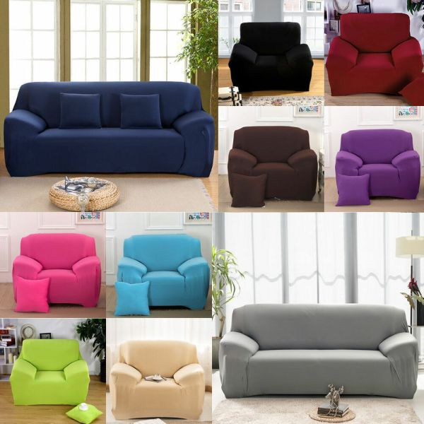 Cheap Easy Fit Stretch Slipcover Sofa Loveseat Chair Furniture Cover Solid