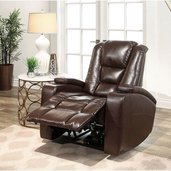 Leather Power Reclining Home Movie Theater Recliner Chair