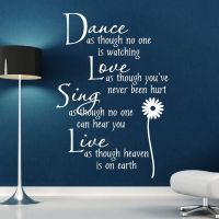 Wall Stickers Quotes Wall Art Dance Love Sing Live Wall ...