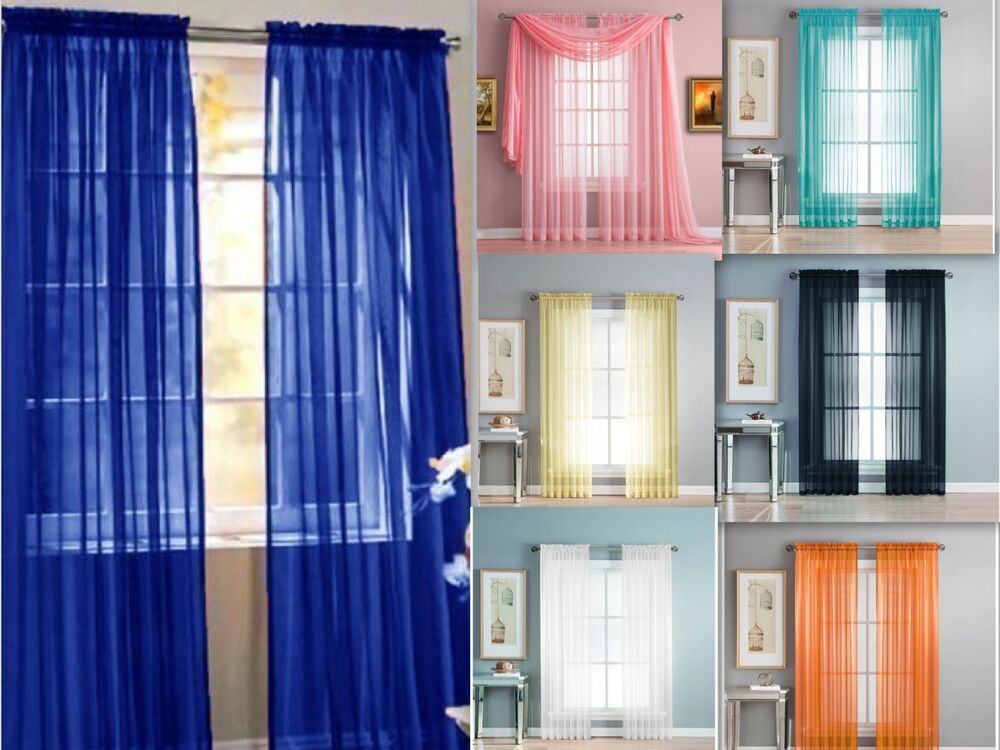 1 Piece Solid Sheer Window Treatment Curtains Drape Panels Extra Long 60 X 108  eBay