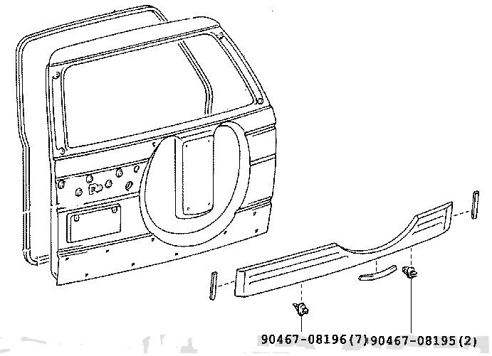 Toyota Prado 90 95 Tailgate Garnish Genuine Trim Body