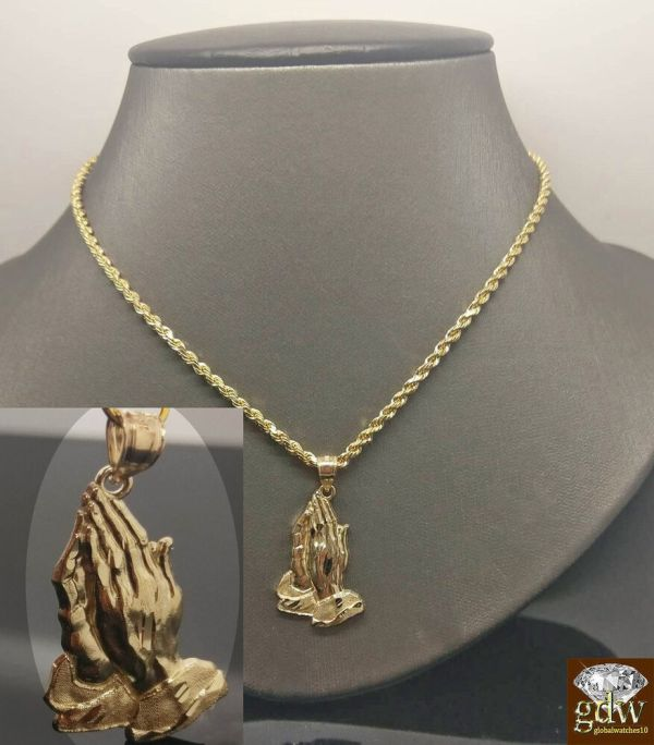 10k Yellow Gold 3 Mm 24 Inches Rope Chain With Praying Hand Charm Pendent Cross
