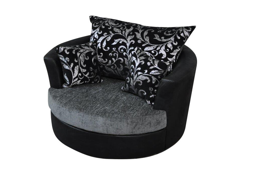 snuggle sofa and swivel chair best lumbar support large round cuddle chenille fabric grey black ...