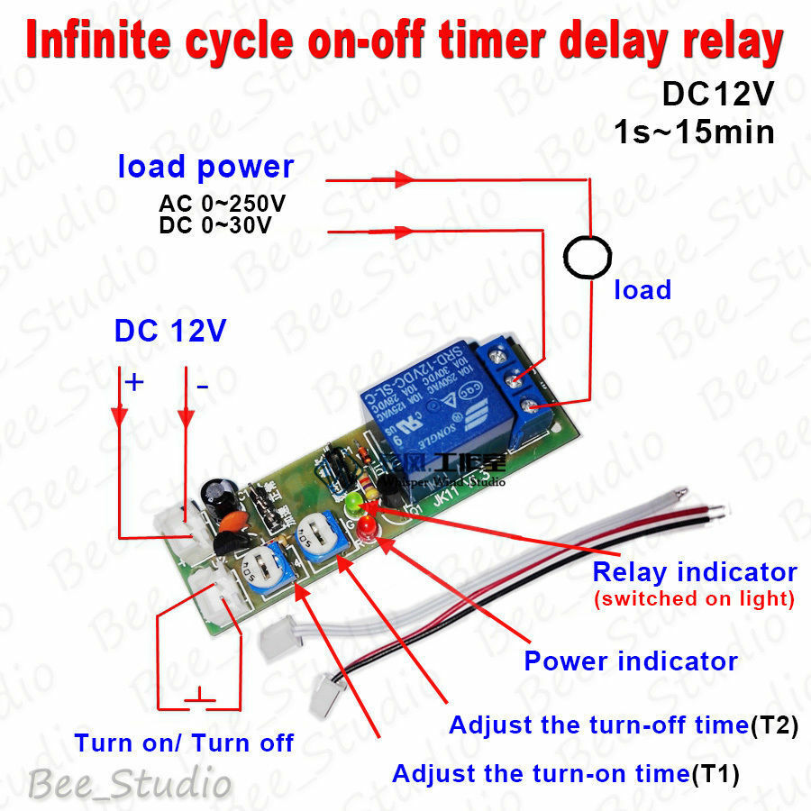 hight resolution of 12v time delay relay circuit diagram dc 12v trigger infinite cycle delay timer relay switch