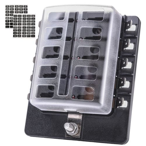 small resolution of details about universal led illuminated automotive blade fuse holder box 10 circuit fuse block