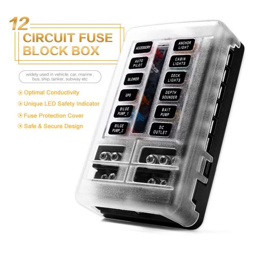 small resolution of details about blade fuse box holder block led indicator ip56 atc ato 12 way 250amp waterproof