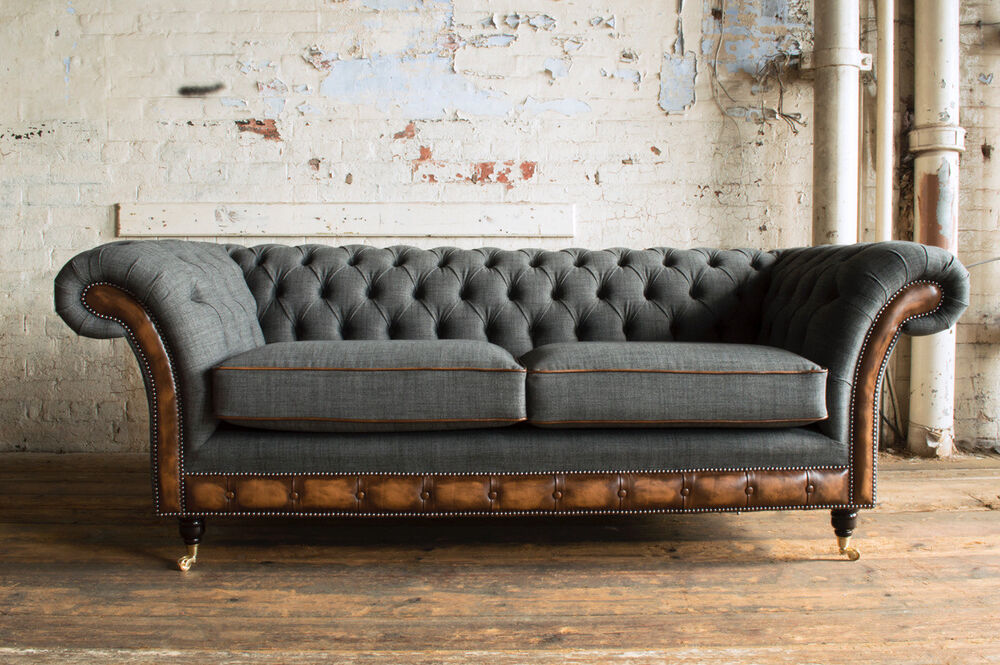 Modern Grey Wool Antique Tan Leather 3 Seater