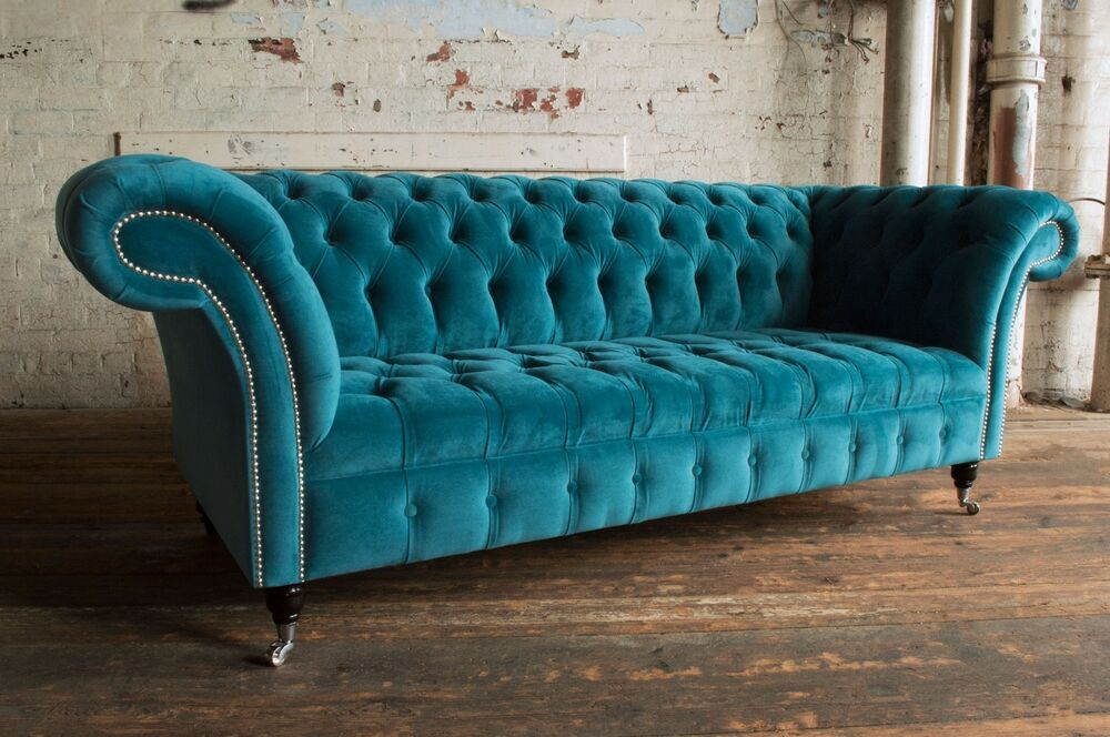 teal sofas pink sofa throw modern handmade 3 seater plush blue velvet chesterfield details about couch