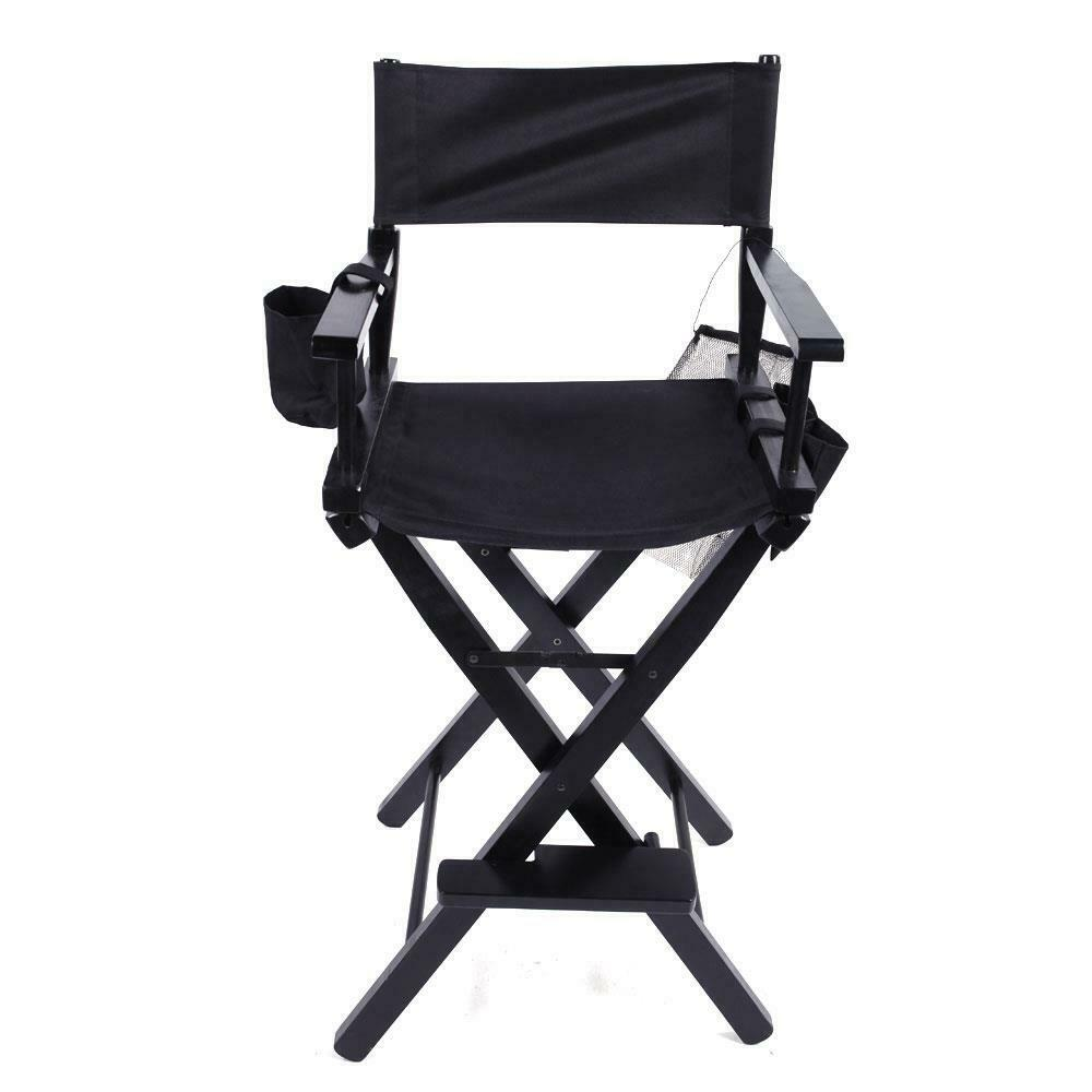 Black Directors Chair New Directors Chair 30 Inch Canvas Tall Seat Black Wood Folding Hair Stylist Ebay