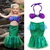 US Stock Kids Baby Girls Little Mermaid Costume Bikini